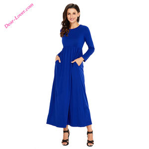 Wholesale Fashion Long Sleeve High Waist Jersey Maxi Dress