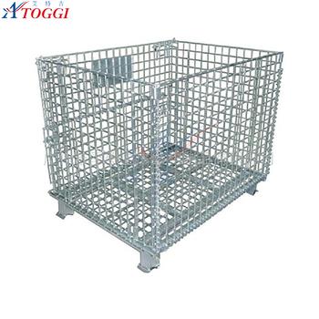 Industrial Stackable Steel Wire Mesh Storage Basket Pallet Cage