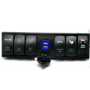 6 Gang LED waterproof Rocker Switch Panel With Voltmeter Double USB Power Outlet Car Marine Boat