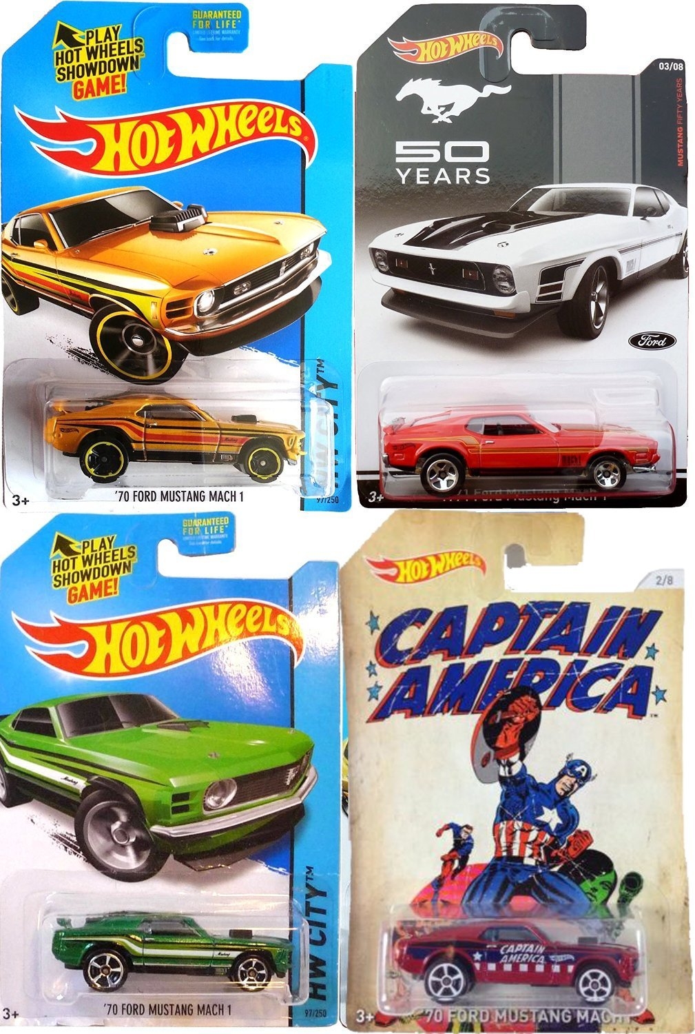Ford Mach 1 Hot Wheels Mustang 50 Years + Captain America set of 4 Vehicles in Protective Cases with Exclusive Red Mustang & 70 Mach 1