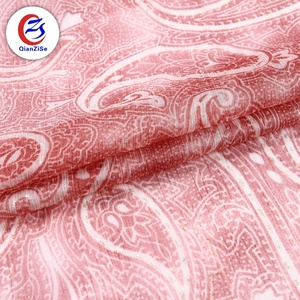 Soft breathable paisley dress china polyester crinkle chiffon fabric picture