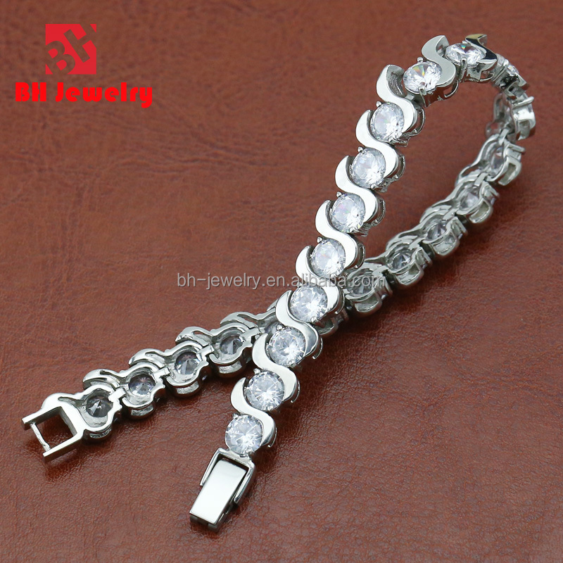 CHINA JEWELRY SUPPLIER DIAMOND TENNIS BRACELET WITH WHITE ZIRCON STONE MIRROR POLISHED ONLY