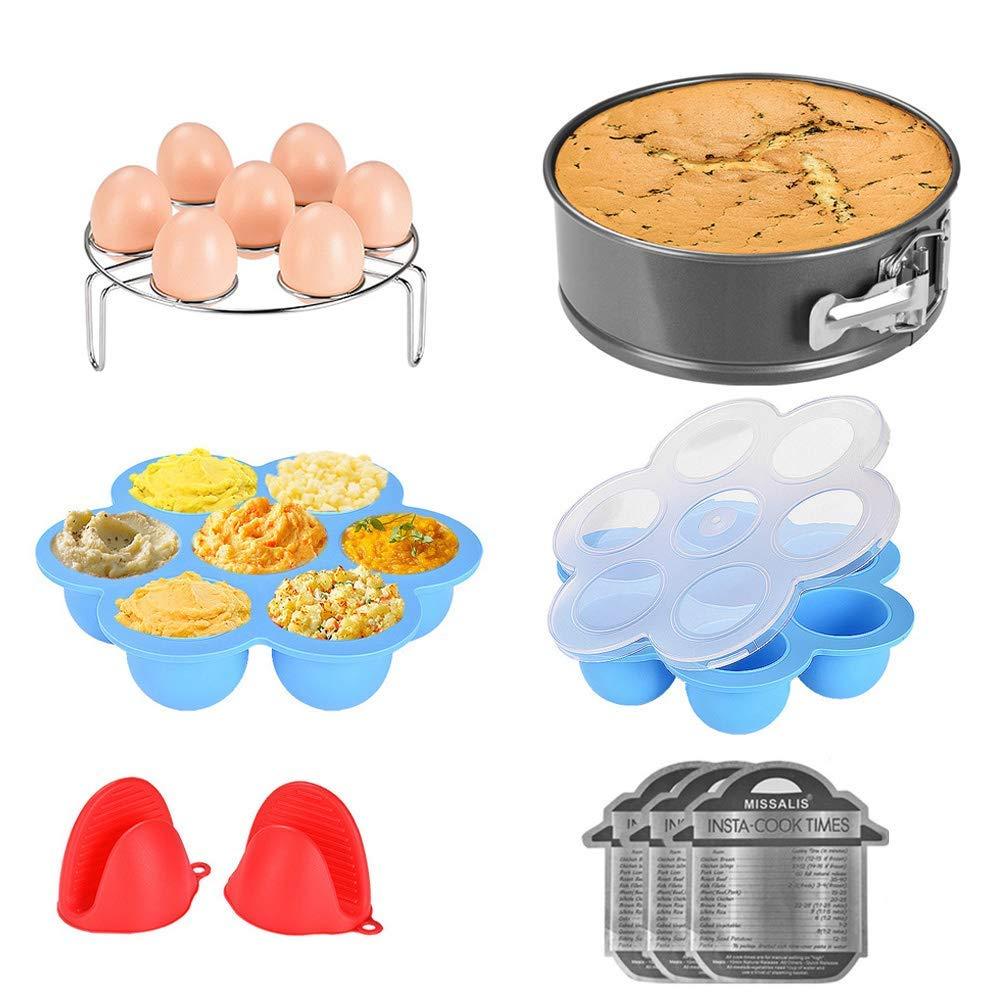 Instant Pot Accessories Set-Fits 5,6,8Qt Instant pot Pressure Cooker,8 Pcs with Egg Steamer Rack, Non-stick Springform Pan, Egg Bites Molds, Silicone Cooking Pot Mitt, Cheat Sheet