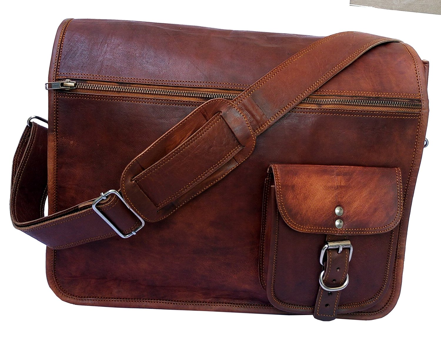 Gbag (T) 16 Inch Vintage Handmade Leather Messenger Bag for Laptop Briefcase Satchel Bag 16X12X4 Inches Brown ...