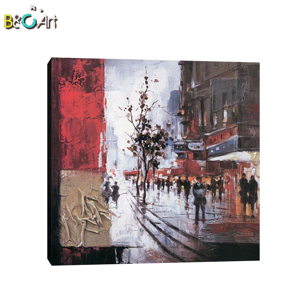 High quality famous abstract rain day paris street oil painting