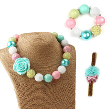 Candy Color Bead Blue Rose Necklace Bracelet Jewelry Set for Girls
