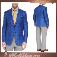 Ropa Formal marcas 100% lana cuadros azules trajes italianos para los hombres