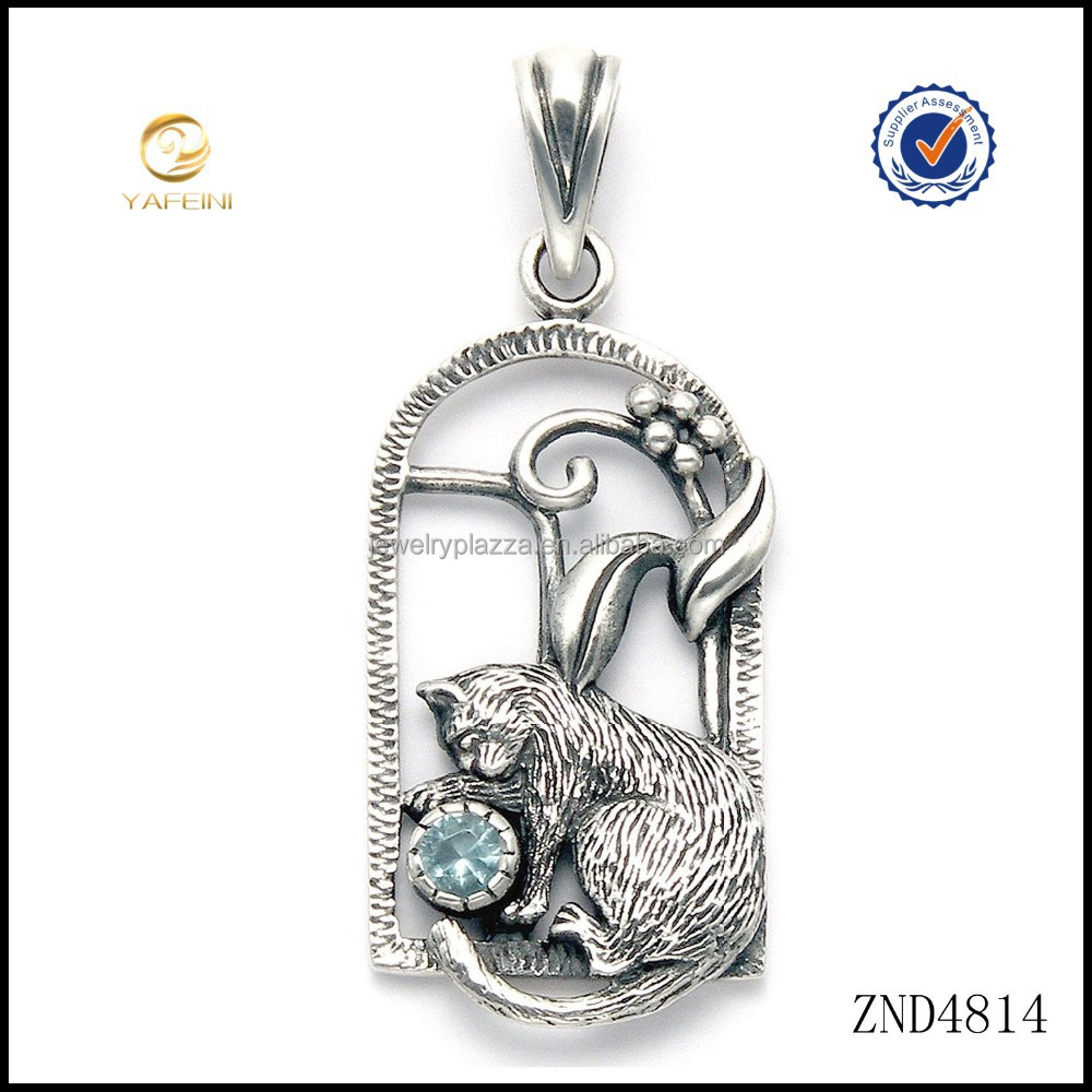 Sterling Silver Cat in Window Pendant with Blue Crystal