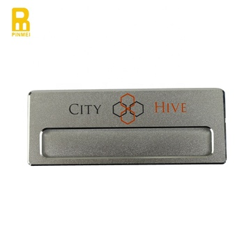 Company Employee Staff Uv Printing Name Badge With Magnetic Back, View  company Name Badge, PM Product Details from Dongguan Pin Mei Metal Gifts