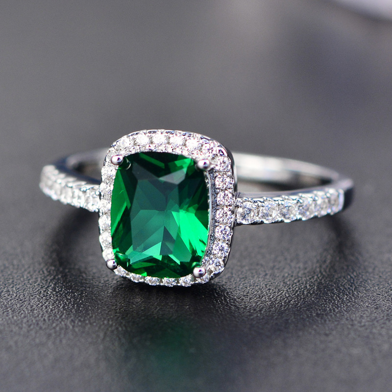 2018 New Arrival White Gold Plated Emerald Green CZ Diamond Forever Love Eternity <strong>Ring</strong>