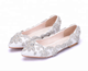 Luxury white bridal shoes flat crystals wedding Shoes