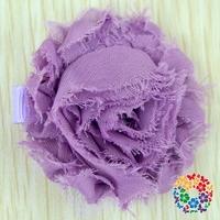 New Baby Girls Purple Corsage Flower Shabby Flower Hair Cutting Clips Hair Accessories Craft Flower Wholesale