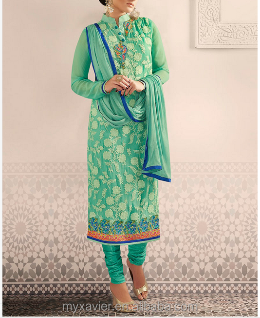 indian clothing wholesale sea Green Embroidered straight suit salwars style