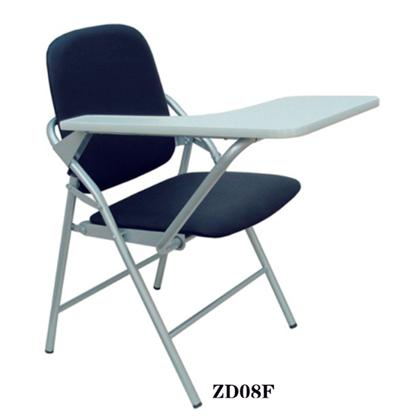 Unique school chairs with writing pad Classroom furniture Cheap leather folding chair for sale ZD08F