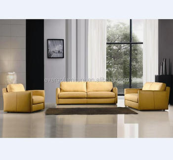 China Living Room Furniture Low Price Yellow Leather Sofa Set