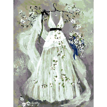 Wedding dress painting canvas Art 3D oil painting digital
