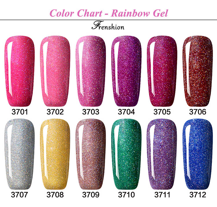 Frenshion all'ingrosso bellezza make up salon soak off Arcobaleno colore Nail polish Gel UV