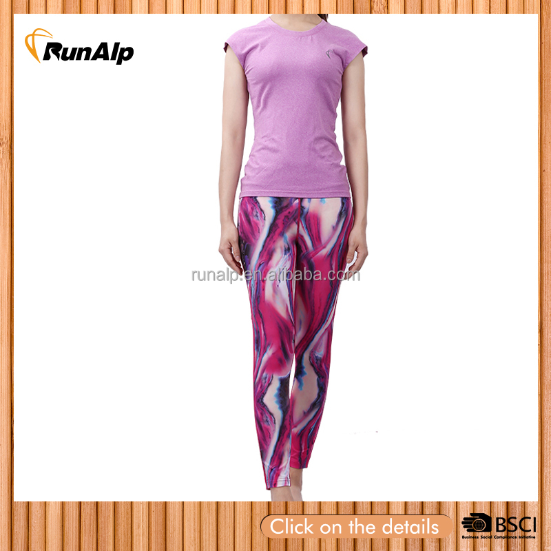 Ladies fitness yoga long pants with digital printing