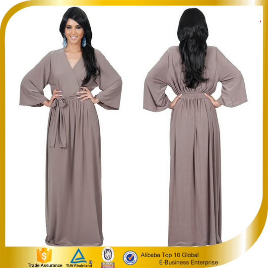 India Wholesale Clothing Ladies Long Sleeve Casual Maxi Dresses ...