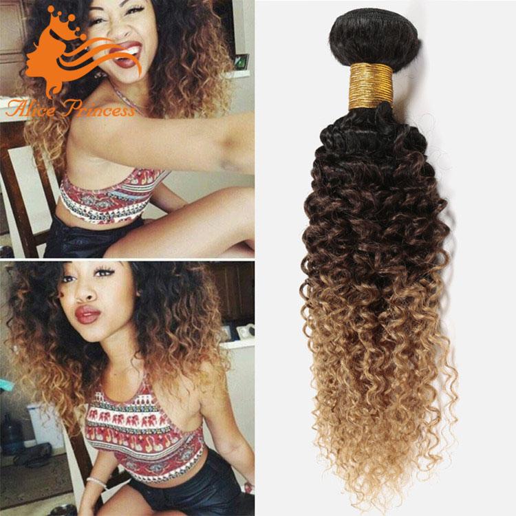 Ombre 3 Tone Brazilian Hair Kinky Curly Human Hair Bundles7a Grade