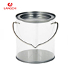 Christmas Round Clear PVC Tin Bucket For Candy Gift Tin Cookie Tin With Metal Lid/Handle OEM