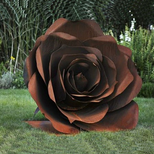 Outdoor metal abstract rose flower sculpture
