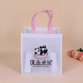 Recyclable foldable cheap white non woven shopping bag with cartoon logo