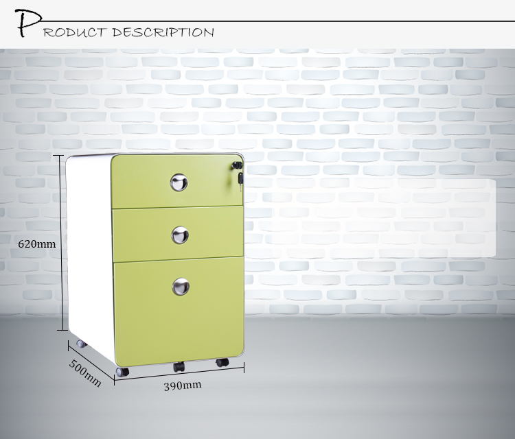 2015 New Design Round Mobile Filing Cabinet Small Green Steel Office Filing Office  Cabinet 3 Drawer