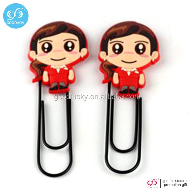 Top quality soft pvc different kinds custom logo metal paper clip