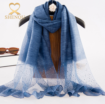 Factory direct 2017 spring new silk wool blend scarves for wholesale solid color rhinestone silk wool scarf