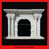 Indoor White Marble Fireplace with Pillars Sculpture