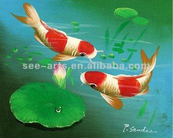 Koi Carps Fish Oil Painting Buy Animal Oil Painting