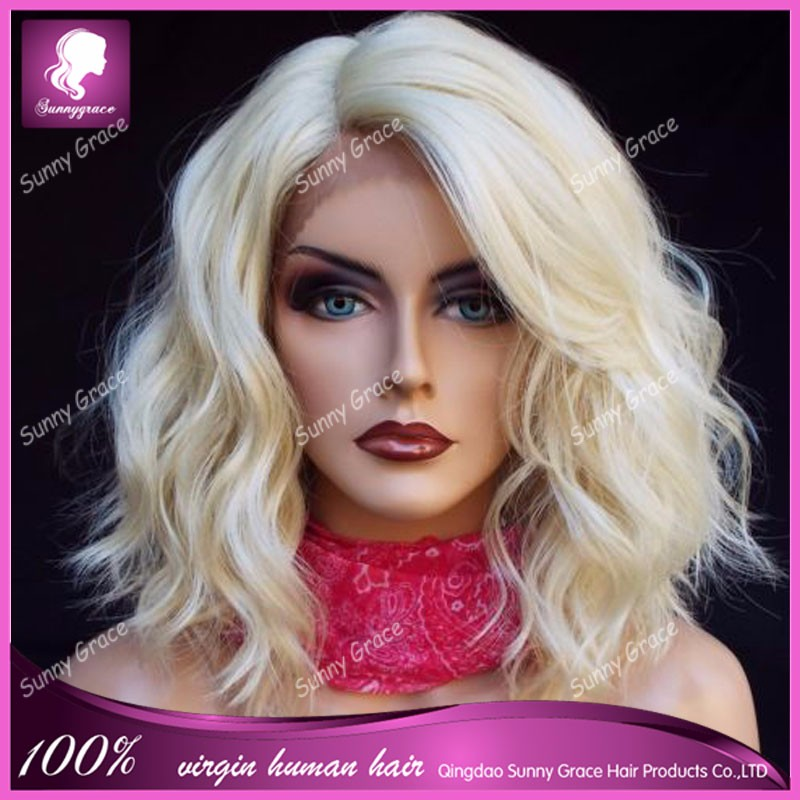 Sunny Grace Glueless Human Hair Short Wave Bob Full Lace Wig Bright Blonde Remy Hair 613 Wig