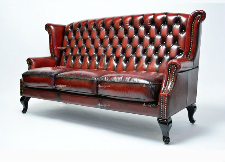 Amg 023 Queen Anne Leather Sofa