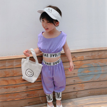 2019 Baby Girls T-Shirt Tops Letters Purple Pants Casual Outfits Sets Summer kids purple shirt Fashion Clothes