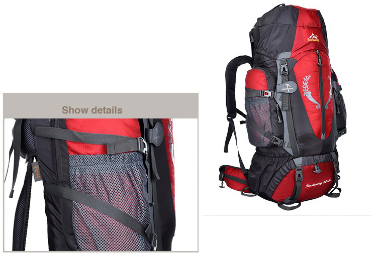 Mountain 80L + 5L Interne Frame Rugzak Met Regenhoes