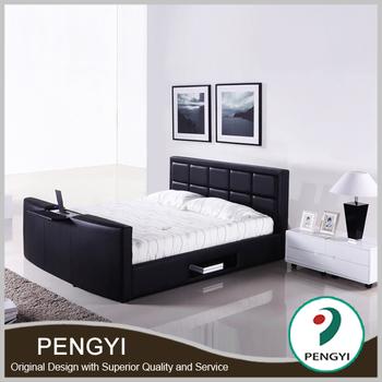 modern design bedroom set king size leather bed with tv in footboard py tv01 buy king size. Black Bedroom Furniture Sets. Home Design Ideas