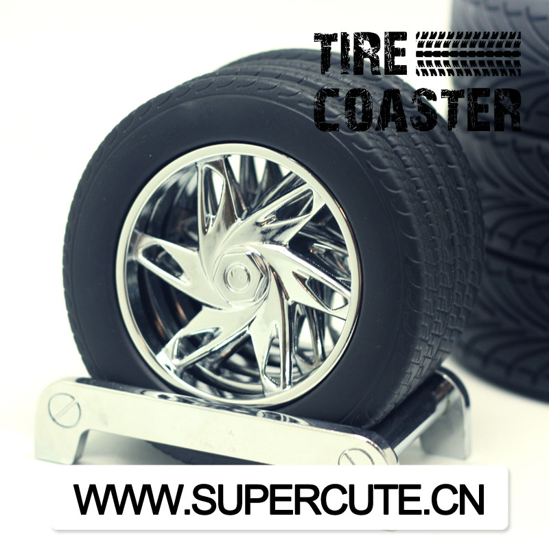 Mini Tyre shape plastic drink cup coaster
