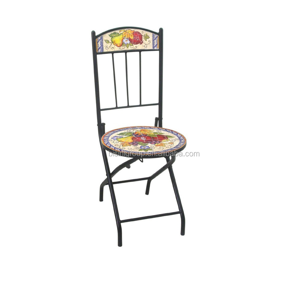 Superior Floral U0026 Vegetable Painted Dining Chair,wrought Iron Folding Chair, Decorative Cast Iron Chairs