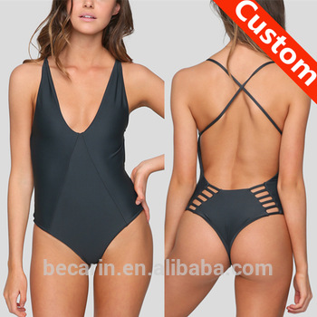 Sexy Black Thong Cross Strap Back Strappy Swimsuit One Piece