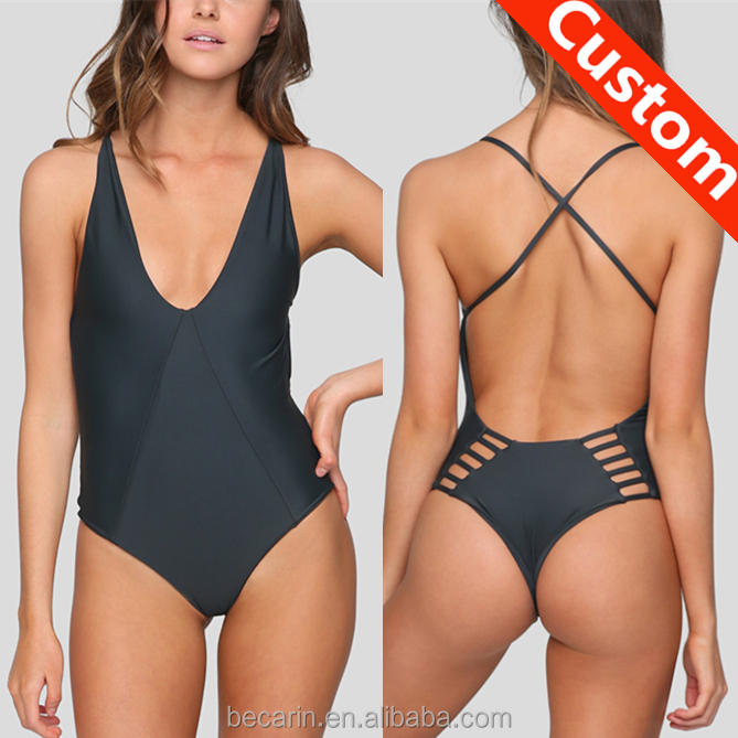 f70c0f7229e sexy black thong cross strap back strappy swimsuit one piece bathing suit  swimwear