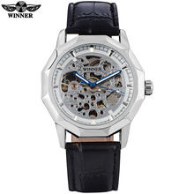 Мужские механические наручные часы WINNER, модные повседневные автоматические часы золотого цвета со стальным ремешком(Китай)