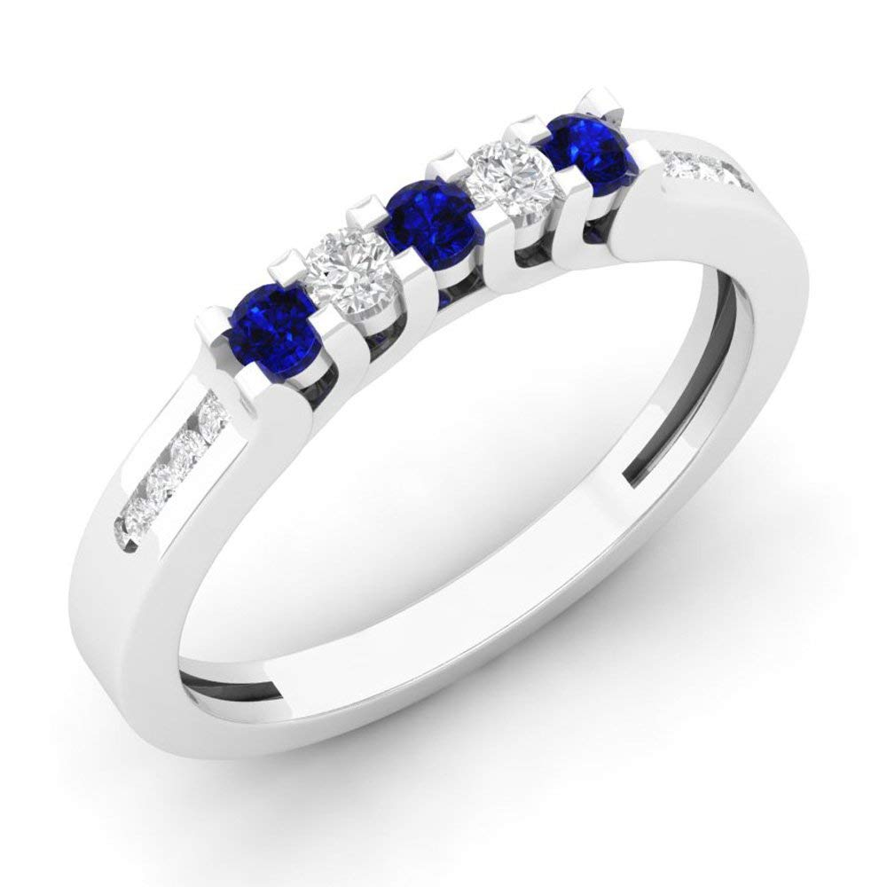 Dazzlingrock Collection 14K Gold Round Blue Sapphire & White Diamond Ladies Anniversary Wedding Stackable Band Guard Ring