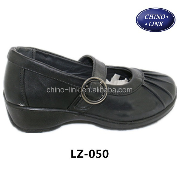 Wholesale best quality pu black girls school shoes