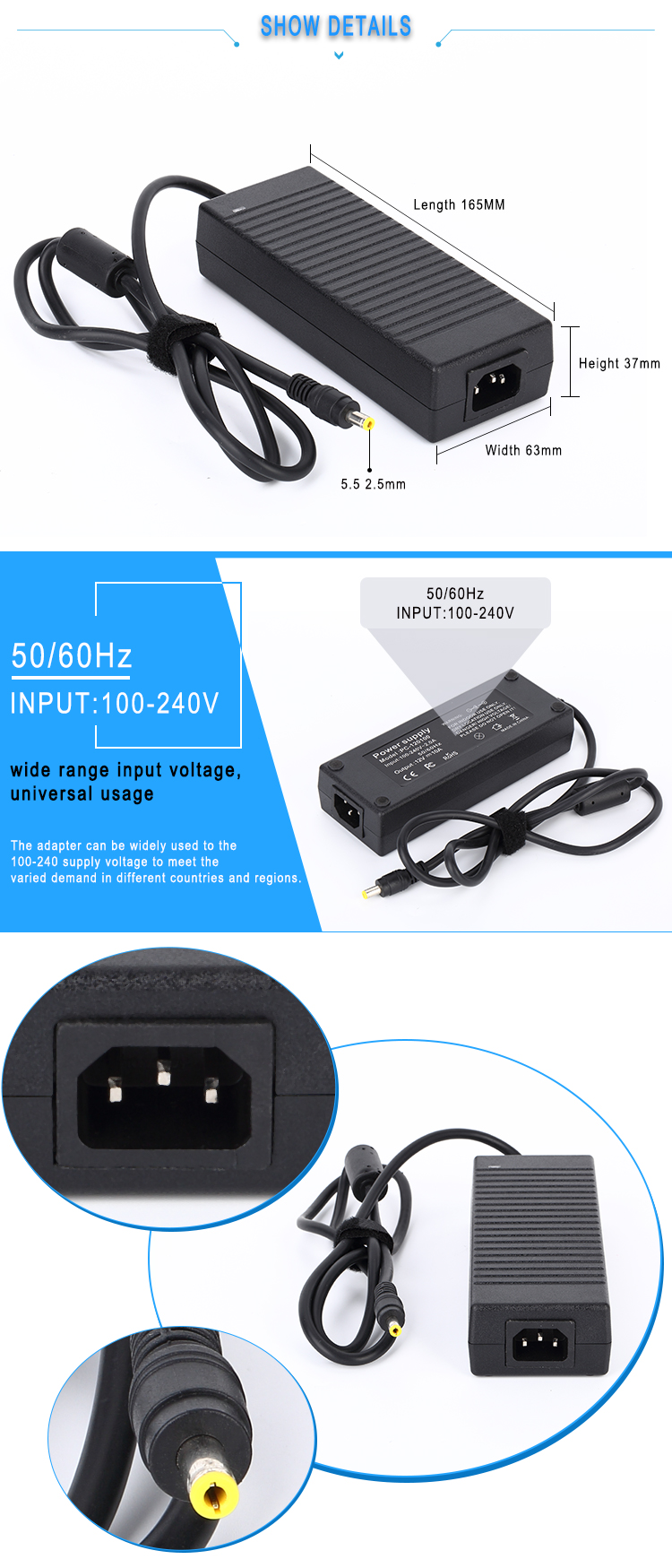 ETL CE FCC PSE ROHS approved 105W 21V 5000mA switching power supply AC DC 21V 5A power supply adapter