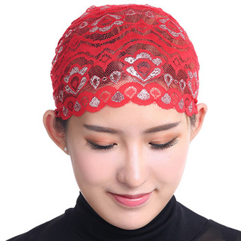 wholesale lace inner hijab cap shimmer muslim women girls beautiful hijab caps