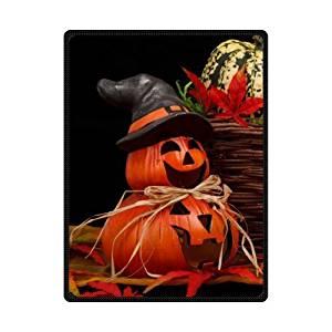 SOFTKIITY Custom Happy Halloween Pumpkin Soft Warm Throws Blankets Size 58inch x 80inch (Large)