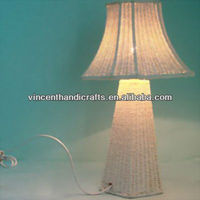 Classic white rattan woven table lamp with lampshade for home, office, wedding decor
