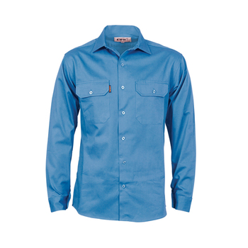 NFPA 2112 9.5 cal/cm2 cotton nylon mixed FR twill solid color snap work shirt