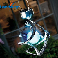 Wholesale garden patio tree decor hanging spiral spinner solar wind chime with glowing magic ball solar garden light